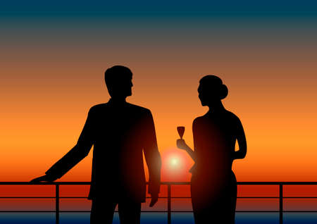 clothes rail: Romantic silhouette of a man and a woman with a glass of champagne on the terrace or deck yacht during sunset Illustration