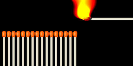 chain reaction: A number of matches and lit one burning match in front of a chain reaction of combustion. Illustration in vector format with a black background Illustration