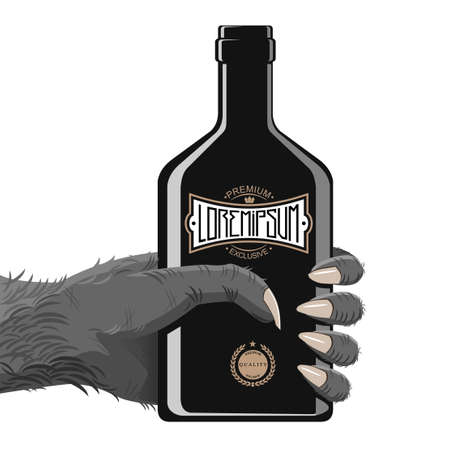 gorila: Hand gorily or another monkey, maybe a monster with a bottle of alcohol or energy in black with vintage abstract. Hand and fingers are grouped separate entity