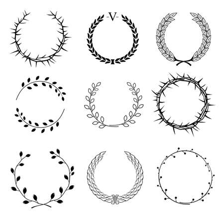 Set of different circular wreaths of different plants - thorns, laurel, of ears and seeds of different branches with leaves on a white background graphics Illustration