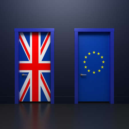 britannia: Three-dimensional rendering illustration of the door with signs UK and EU flags in the subject of the referendum on withdrawal from the association Stock Photo