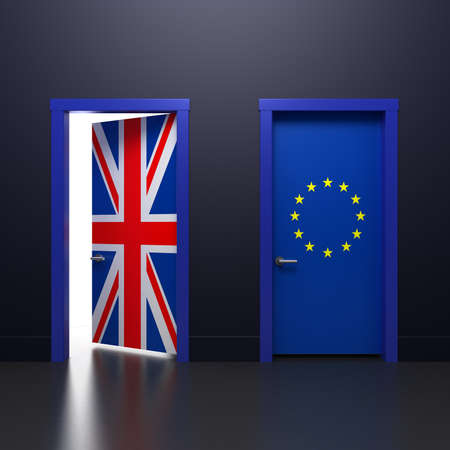 Three-dimensional rendering illustration of the door with signs UK and EU flags in the subject of the referendum on withdrawal from the association Фото со стока