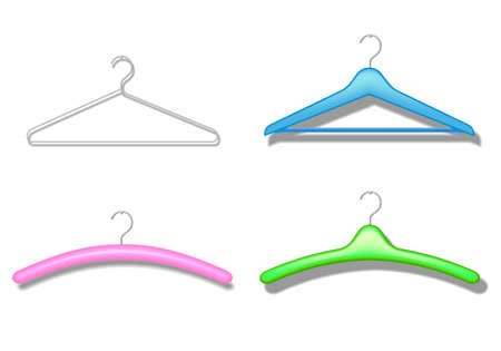 separately: Trempel hangers for clothes on a white wall with shadow are grouped separately Illustration
