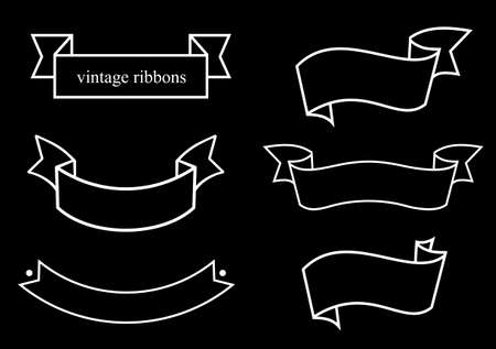 configurations: Vintage ribbons of different configurations in the technique of engraving on a white background