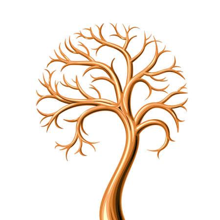 Arbre d'or sans feuilles de métal dans les graphiques similaires à bijou ou un symbole Banque d'images - 59930049