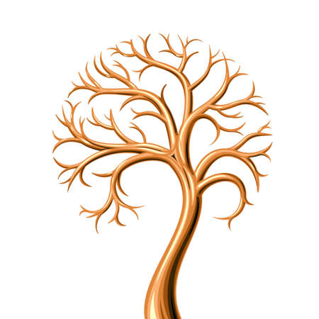 Golden tree without leaves of metal in graphics similar to jewel or symbol 矢量图像