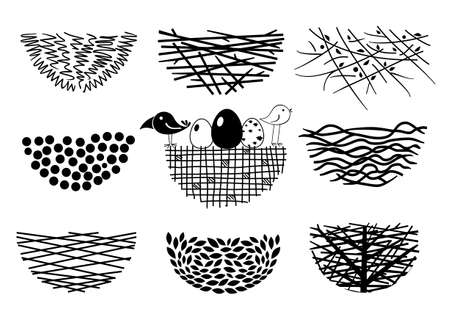 venison: Set icons Birds Nest for a or emblem in the technique of sketching.