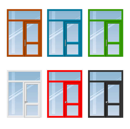 glazing: Set of modern colorful windows and doors to the balcony or terrace in different colors. Illustration