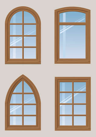 A set of wooden arched windows and a classic design in vector graphics.