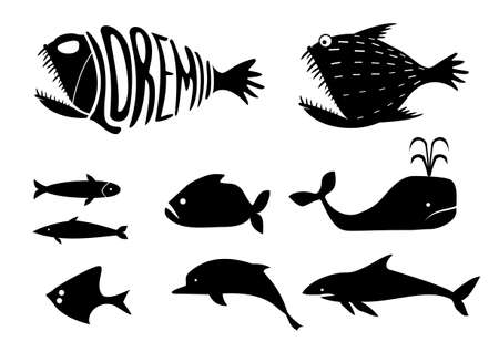 sardines: A set of silhouettes of icons and templates for various marine fish - whales, sharks, sardines, dolphins and other