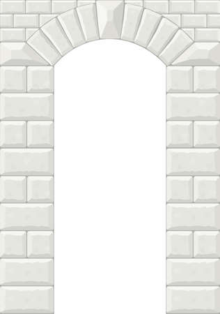 stone arch: Arch in the wall of white cut stone and travertine marble for a window or door in the classic style