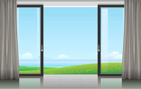 Die Wand zu Hause oder mit einer Schiebetür und Blick auf die Küste. Vektor-Illustration