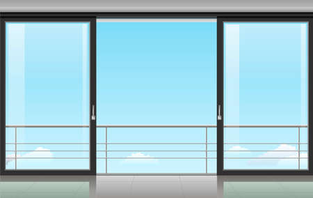 The wall at home or with a sliding door and overlooking the sky. Vector illustration Иллюстрация