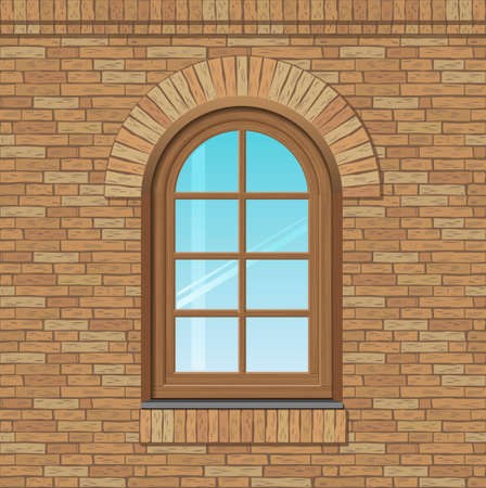 arched: Arched antique window on a brick wall, the texture of the building facade, vector graphics