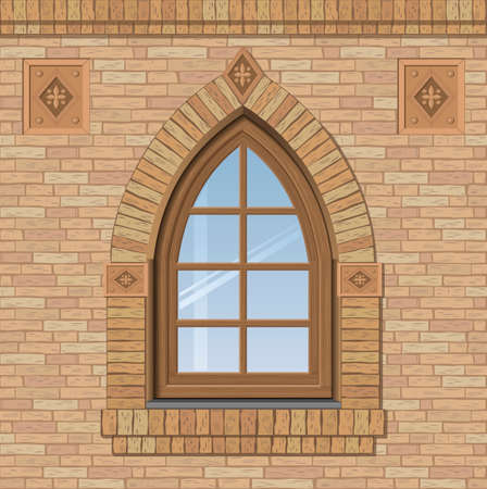 window bars: Arched antique window on a brick wall, the texture of the building facade, vector graphics