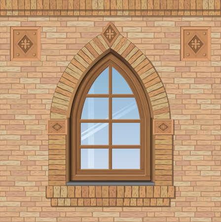 Fenêtres cintrées antique sur un mur de briques, la texture de la façade du bâtiment, des graphiques vectoriels Vecteurs