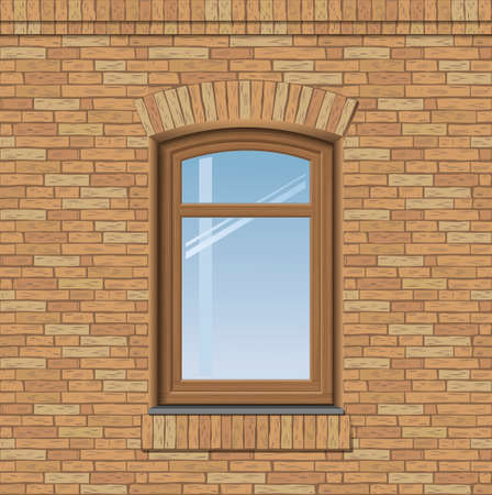 sill: Arched antique window on a brick wall, the texture of the building facade, vector graphics