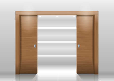Sliding door wardrobe or dressing room, changing rooms, shop with a wood texture in vector graphics
