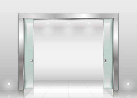 鋼予約過ごすエントランス ホール科学研究所やオフィス、安全ガラスのスライド ガラスのドアのある銀行。ベクター グラフィックスの室内空間。  イラスト・ベクター素材