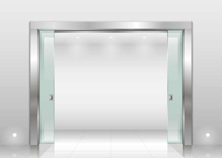 Steel reservation Spend entrance hall scientific laboratory or office, a bank with a sliding glass door of safety glass. Interior space in vector graphics.