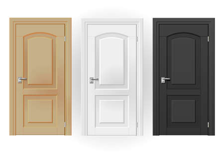gamme de produit: Three doors on white background of white, beige, black in a classic design. Vector graphics