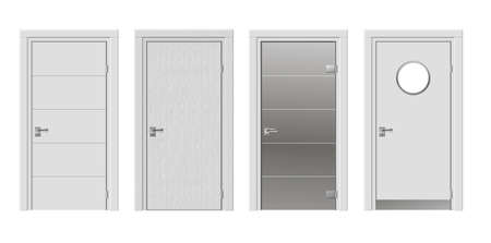 glass doors: Set of four doors with modern glass in white color vector graphics Illustration