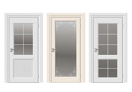 arched: Set of classic vintage doors with stained glass, ornaments. Color doors in a light beige and white wood.