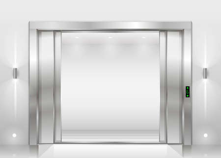 Open Doors Panoramic Elevator With A Glass Wall Or Window Vector
