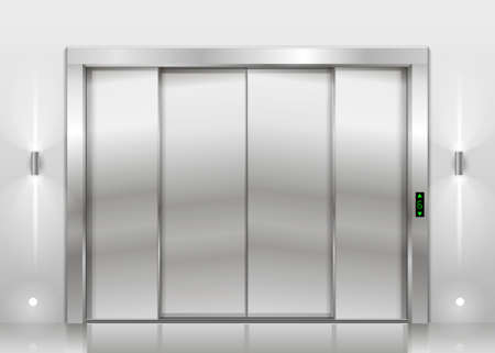 sliding: Closed door of the freight elevator hospital or office building. Metal armored sliding door. Illustration