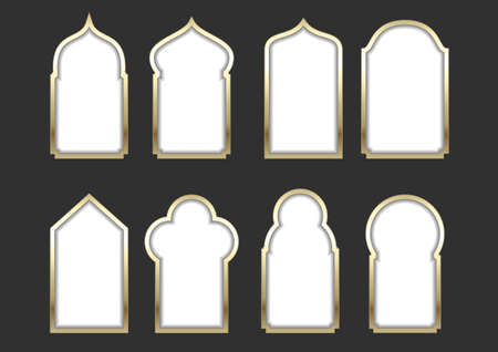 window hole: Set of different golden arched windows or doors in the Eastern or Arabic style. Vector graphics for postcards and icons, covers. Background for the sign Illustration