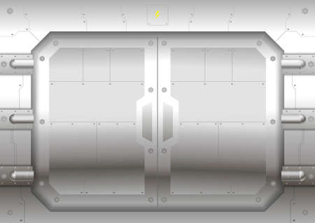 metal doors: Sliding metal Reservation gateway with sliding doors or gates, exit portal spacecraft or submarine. Illustration