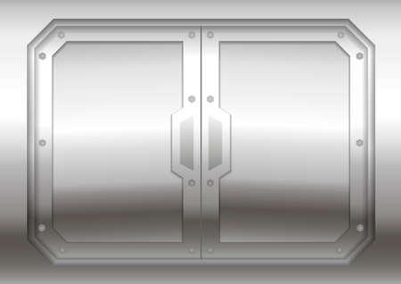 Sliding metal Reservation gateway with sliding doors or gates, exit portal spacecraft or submarine. Illustration