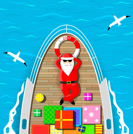 Santa Claus is swimming on a yacht lying on the deck with a bunch of gift boxes. Sea waves and seagulls around. Vector graphics. Illustration