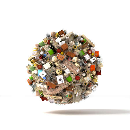 bldg: 3d render. Planet in a huge ball of objects and debris hanging in space on a white background. Dump. Stock Photo
