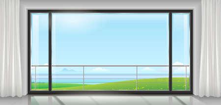 hôtel de chambre ou maison, appartement, avec une grande baie vitrée, une porte et une vue sur la baie de la mer ou de l'océan. Graphiques vectoriels