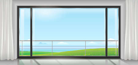 ocean view: Room hotel or house, apartment, with a huge panoramic window, a door and a view of the sea bay or ocean. Vector graphics Illustration