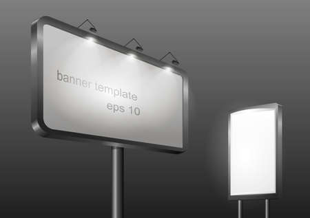 lighting column: Template city banner or billboard with illumination for advertising. Horizontal and vertical on the composition