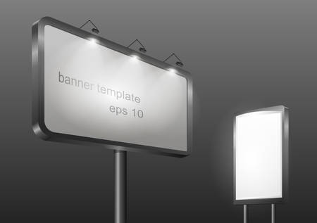 lighting column: Template gordskogo banner or billboard with illumination for advertising. Horizontal and vertical on the composition