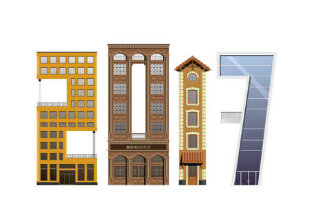 Group of different buildings in different architectural styles in the form of the number 2017. Illustration