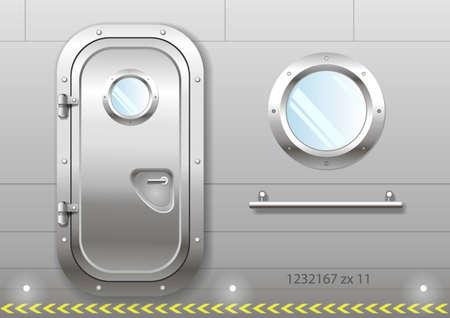 金属を研磨船のドア