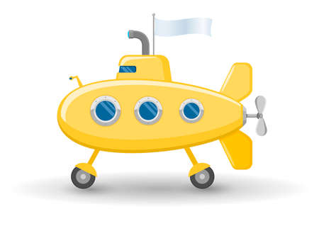 rivets: Funny yellow submarine on wheels with a white flag. Childrens toy.