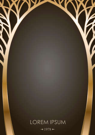 Cover of silhouettes stylized golden trees in the form of an arch with graphic templates for greeting cards, labels. Forged or cast gates in fairy-tale style. Ilustração