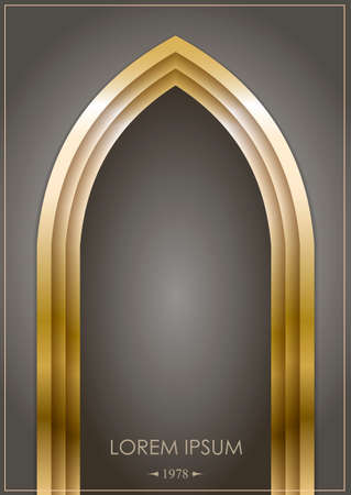 Arab arch of gold or bronze on a dark background. Gothic form.