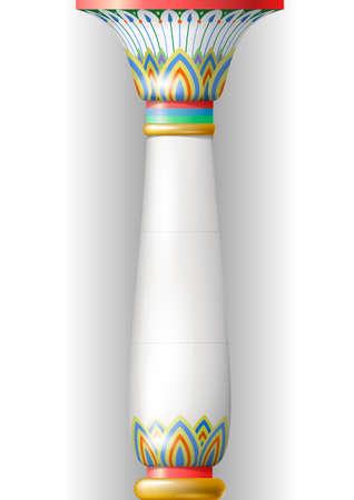 Colonne de l'ornementation ancienne dans le style égyptien, sumérien ou en persan. ornement floral au Moyen-Orient ou le style russe. Banque d'images - 63861247