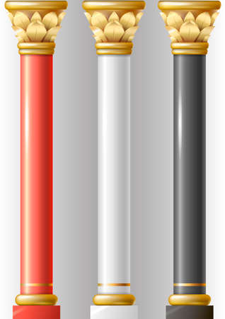 Set of different luxury pillars red, black, white in oriental-style with gold and enamel. Columns of a Buddhist temple or eastern palace, mosque.