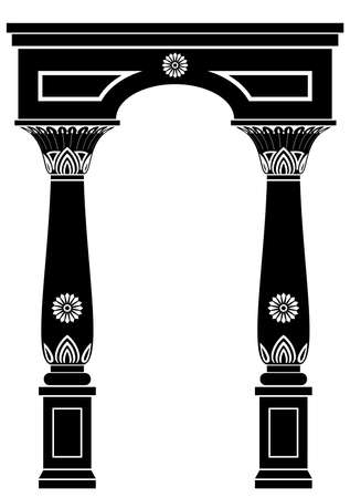 Arch in ancient Egyptian style or oriental style with floral ornament.