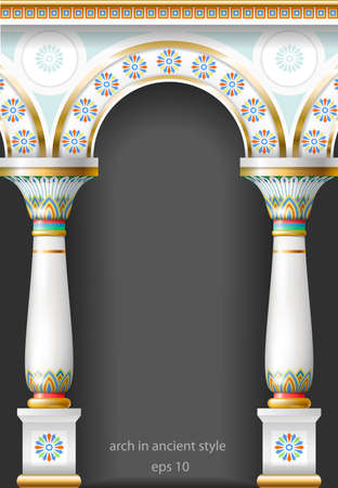 enamel: Fabulous ancient arch in the east or the ancient Russian style with gold, mosaic, white enamel. Illustration