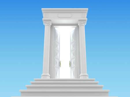 heavenly light: 3D illustration of the heavenly ladder in the sky with a white portico and the door behind which the light