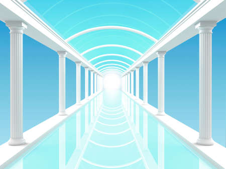 pool hall: 3D illustration of a white colonnade or corridor or swimming against the blue clear sky