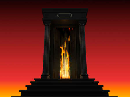 stage door: 3D illustration of a ladder to hell with a portico and a door behind which lit the flame